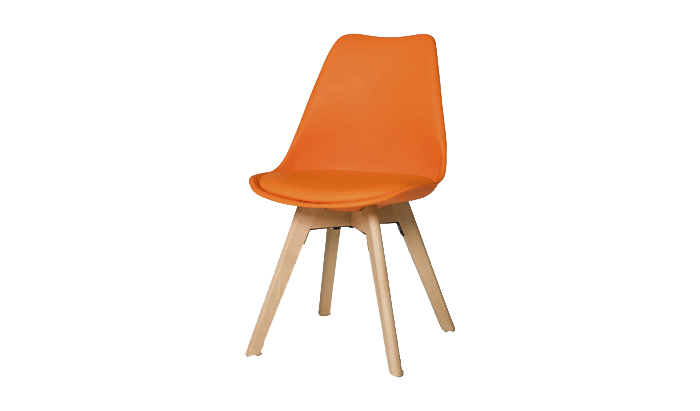 Set of 4 Orange Dining Chairs