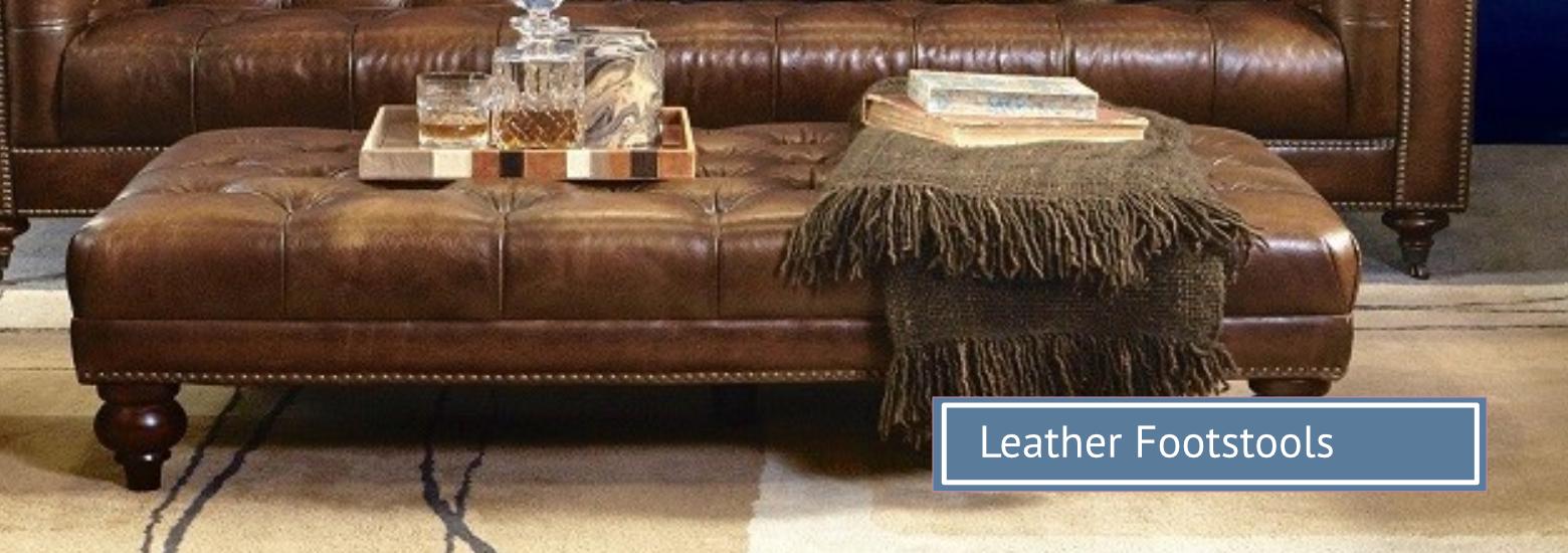 Group hero leather footstools