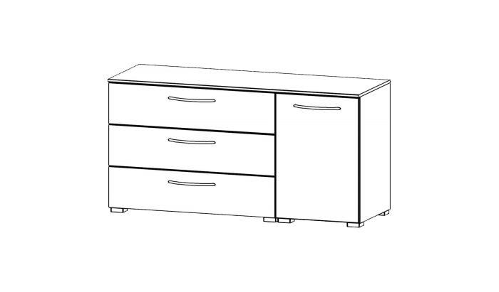 1 Door 3 Drawer Chest