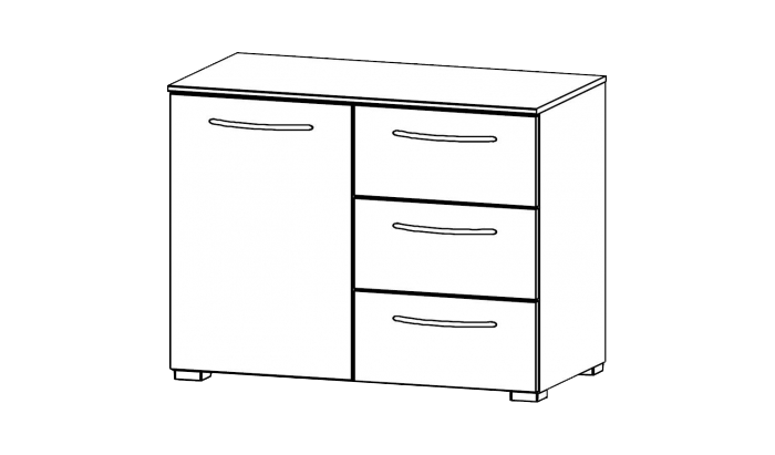 1 Door 3 Drawer Chests