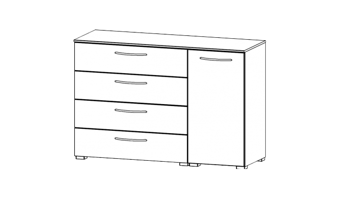 1 Door 4 Drawer Chest