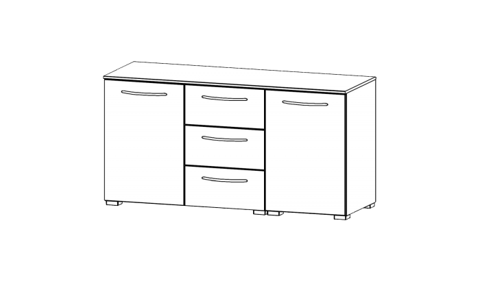 2 Door 3 Drawer Chest