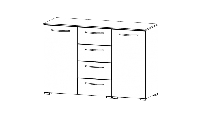 2 Door 4 Drawer Chest