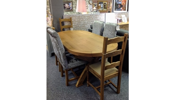 double extending table and 6 chairs