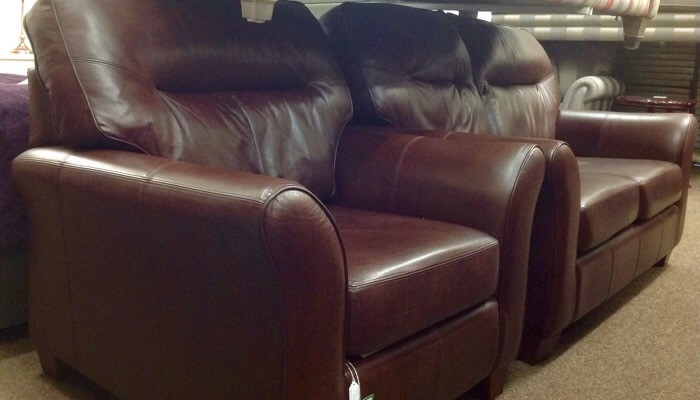 G plan leather sofa and chair